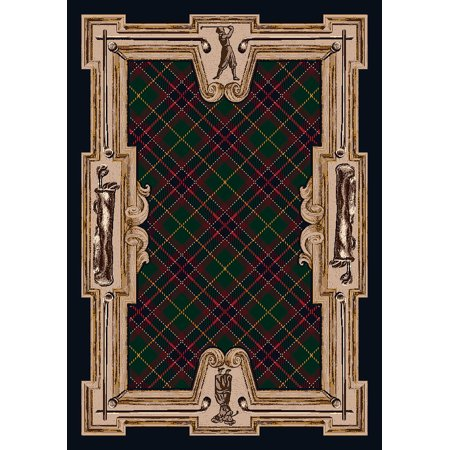 Milliken Seasonal Inspirations Area Rugs Novelty 12001 Emerald Shire Gold Plaid Highland Scottish Rug