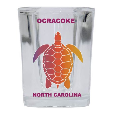 OCRACOKE Square Shot Glass Rainbow Turtle -