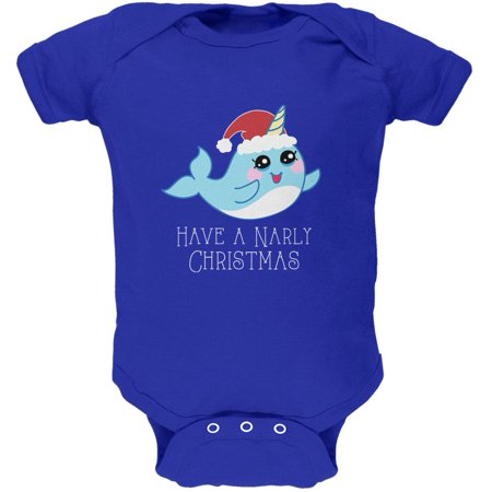 Narwhal Have a Narly Gnarly Christmas Soft Baby One