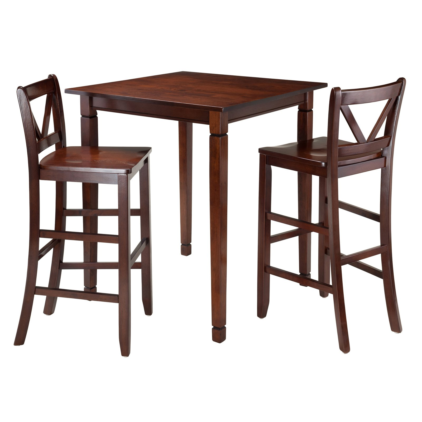 Kingsgate 3-Pc Dining Table with 2 Bar V-Back Chairs