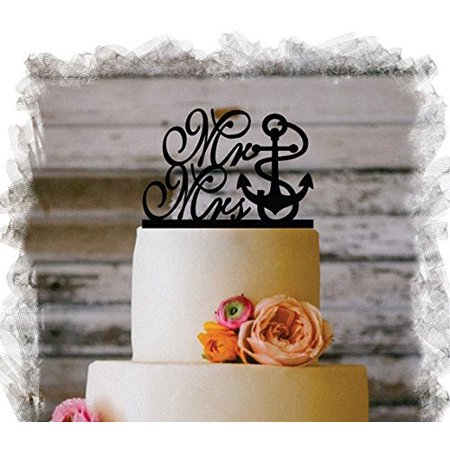 wendana funny mr mrs anchor wedding cake topper bride and groom present for wedding decortions rustic