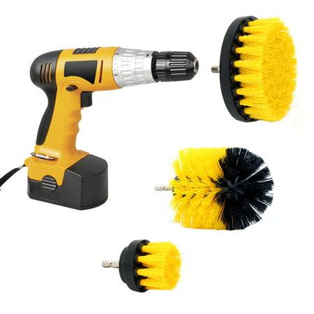 Quarry Tile Abrasive (3 PCS Drill Brush Nylon Power Brush Tile and Grout Bathroom Cleaning Scrub Brush Kit )