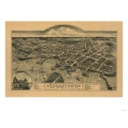 Edgartown Harbor - Edgartown, Massachusetts - Panoramic Map Print Wall Art By Lantern Press