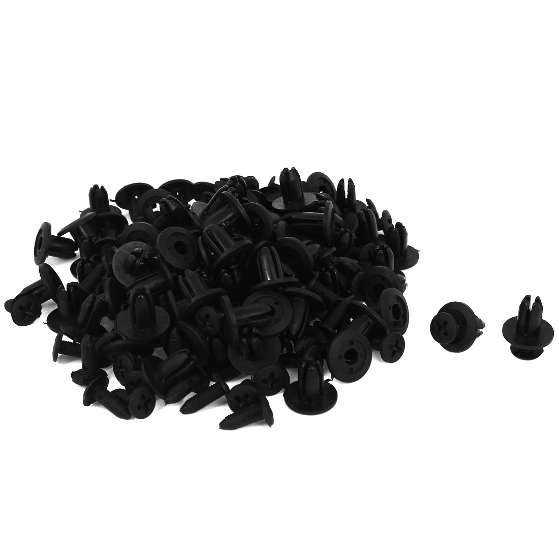 100 Pcs Black Plastic Rivet Trim Fastener Moulding Clips 7mm x 11mm x 15mm - image 1 of 1