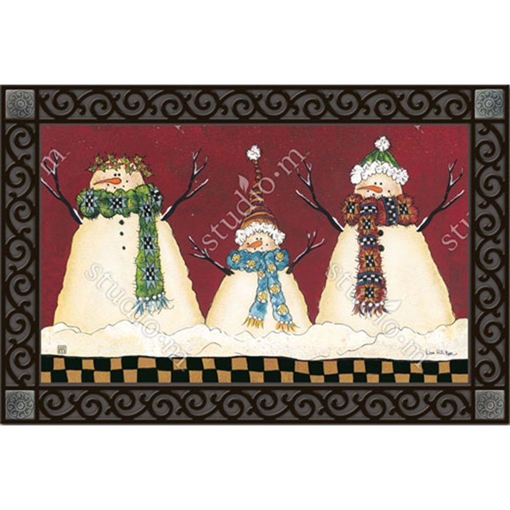 "Primitive Snowman Winter Doormat Seasonal Indoor Outdoor 18"" x 30"" MatMates, Primitive Snowman MatMates Doormat Insert - 18"" x 30"" By MagnetWorks"