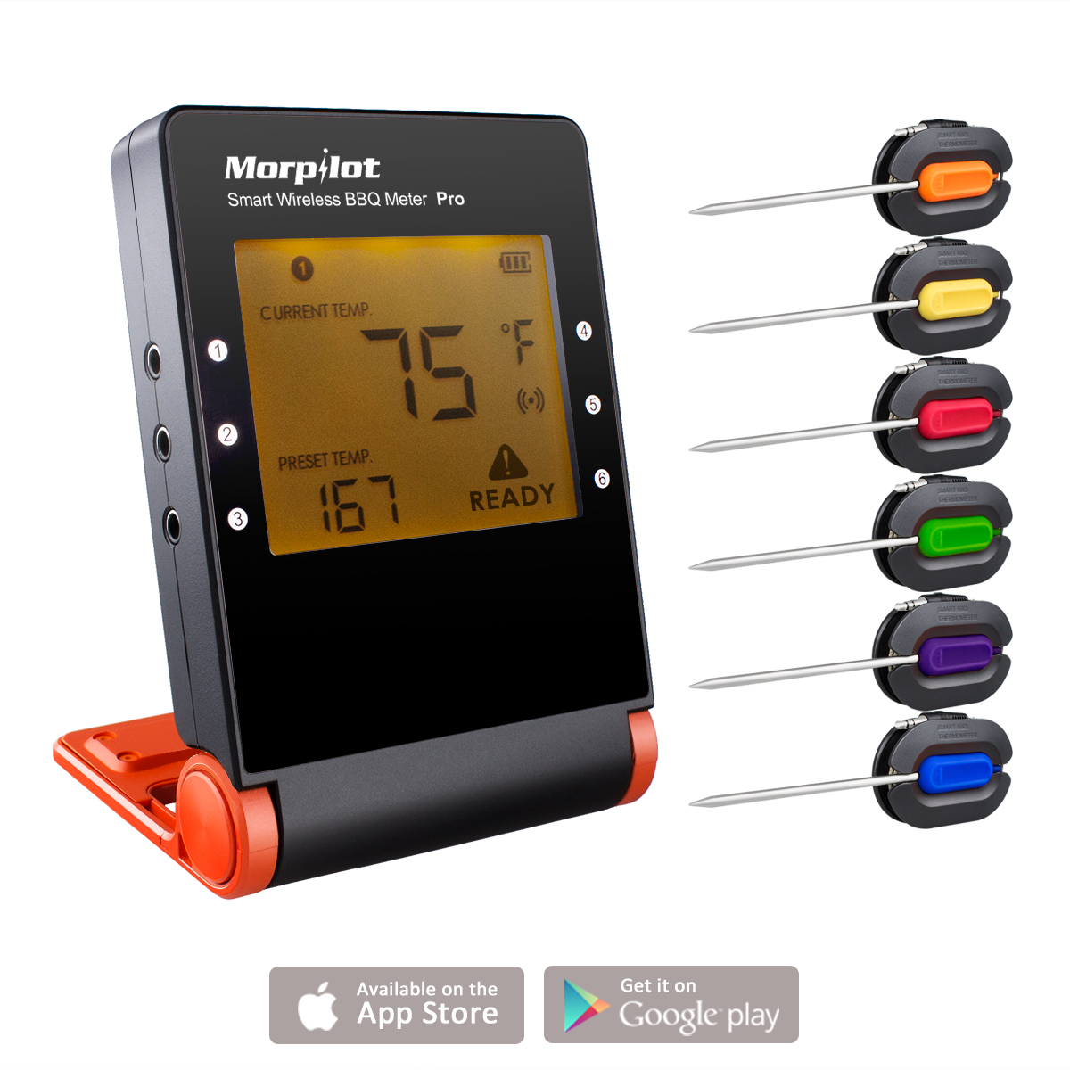 Morpilot BBQ Thermometer Smart Bluetooth Wireless Remote Digital Kitchen Cooking Food Meat Thermometer 6 channel 6 probes