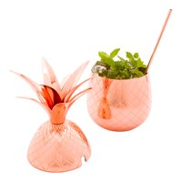 Pineapple Cocktail Tumbler - Copper-Plated Stainless Steel - 24oz. - 1 Count Box