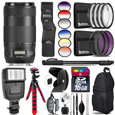 Canon EF 70-300mm IS II USM Lens + Flash + Color Filter Set - 16GB Accessory Kit