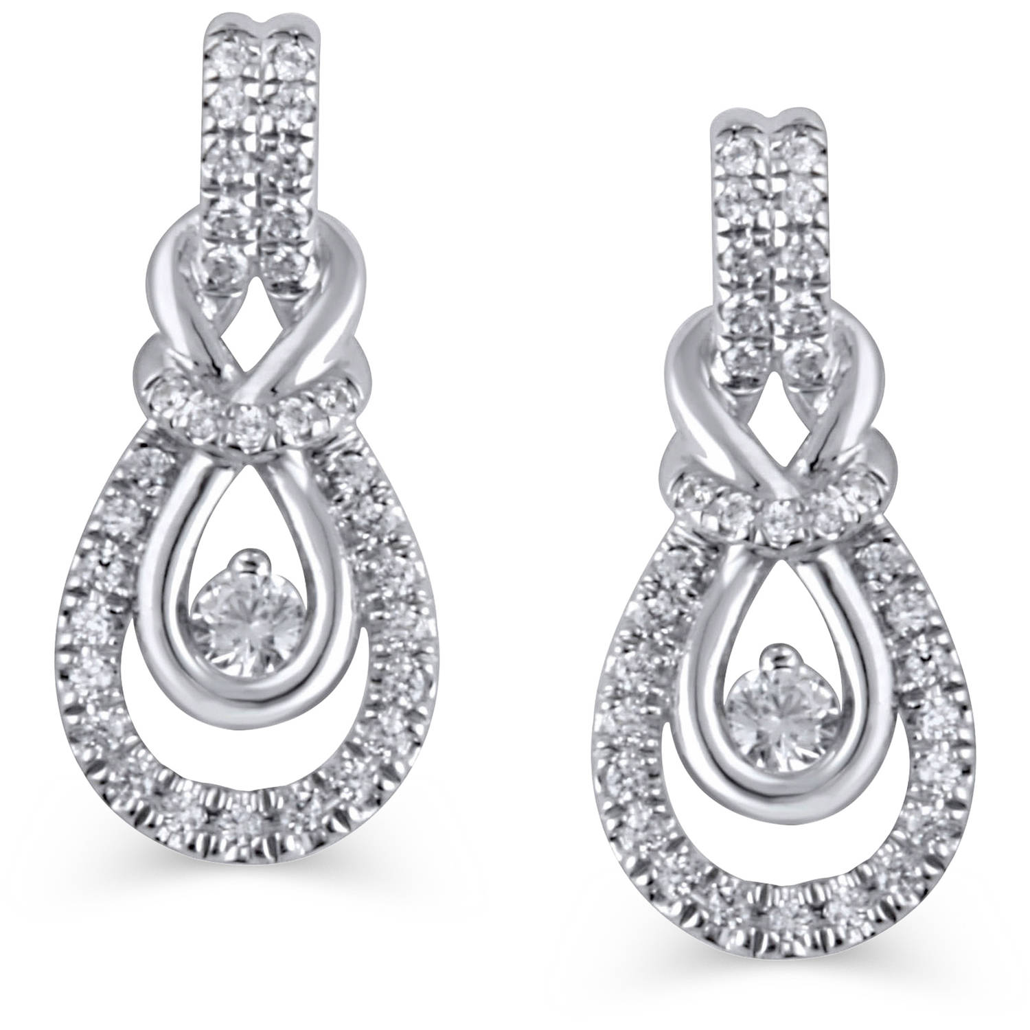 1/3 Carat T.W. Diamond 10kt White Gold Knot Earrings