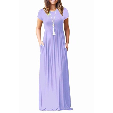 0baae9fbb8a1 HiMONE - Women s Short Sleeve Loose Plain Maxi Dresses Casual Long Dresses  with Pockets - Walmart.com