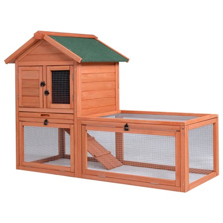 Gymax Pet Wooden House Rabbit Hutch Bunny Chicken Coops Cages with Tray Run Outdoor ()