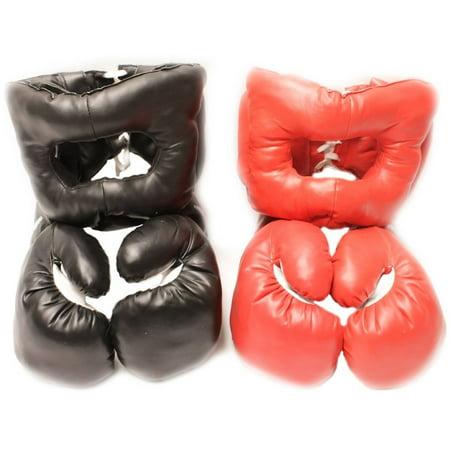 Red Corner VS. Black Corner Boxing Fight Set - Gloves and Headgear - Child