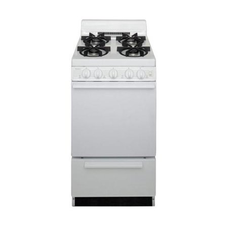 SHK100OP ADA Compliant White 20 Sealed Gas Range with 2.4 Cu. Ft. Capacity Four Sealed 9 100 BTU Burners 4 Porcelain Backguard and 17 000 BTU Oven Burner For Natural or L.P. Gas
