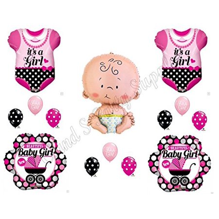 IT'S A GIRL POLKA DOT ONESIE Baby Shower Balloons Decoration Supplies Newborn