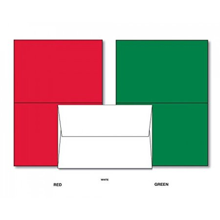 Holiday Christmas Greeting Cards - 25 Red & 25 Green Blank Greeting Cards with 50 White Envelopes - Card Size 4 x 6 inches When Folded - Envelopes Size - 4x6 Photo Insert Christmas Cards