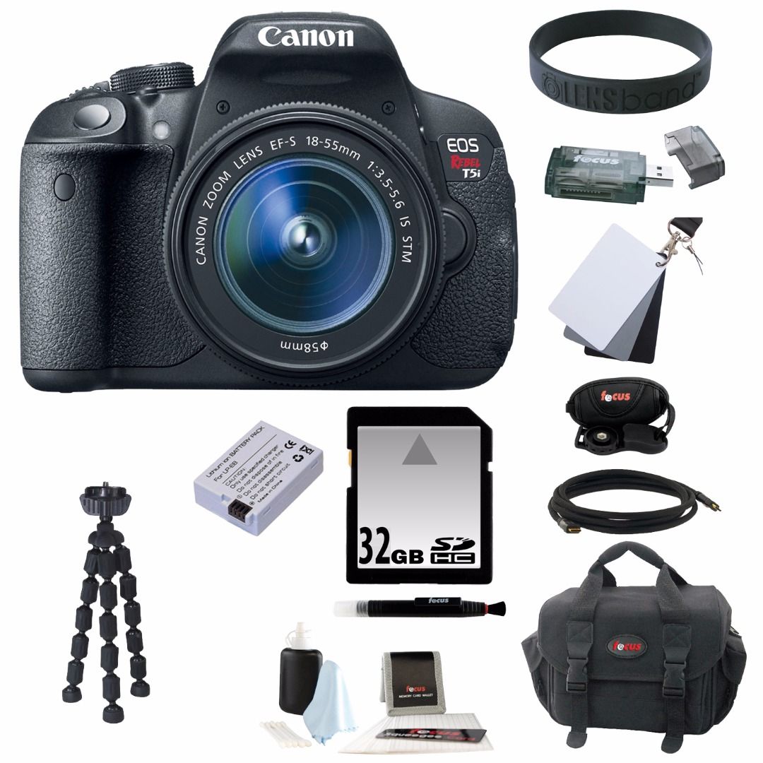 Canon EOS Rebel T5i 18.0 MP DSLR with 18-55mm Lens and 32GB Deluxe Accessory Kit by Canon