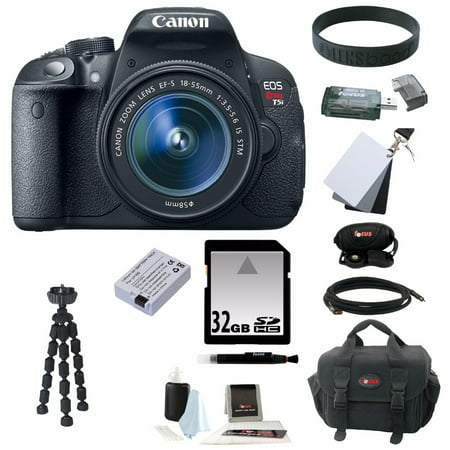 CANON EOS Rebel T5i 18.0 MP CMOS DSLR Camera Lens Kit with EF-S 18-55mm f/3.5-5.6 IS STM Zoom Lens + 11pc Bundle 32GB Deluxe Accessory Kit