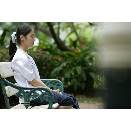 LAMINATED POSTER Bench Sitting Asian Thailand Park Asia Girl Poster Print 24 x 36