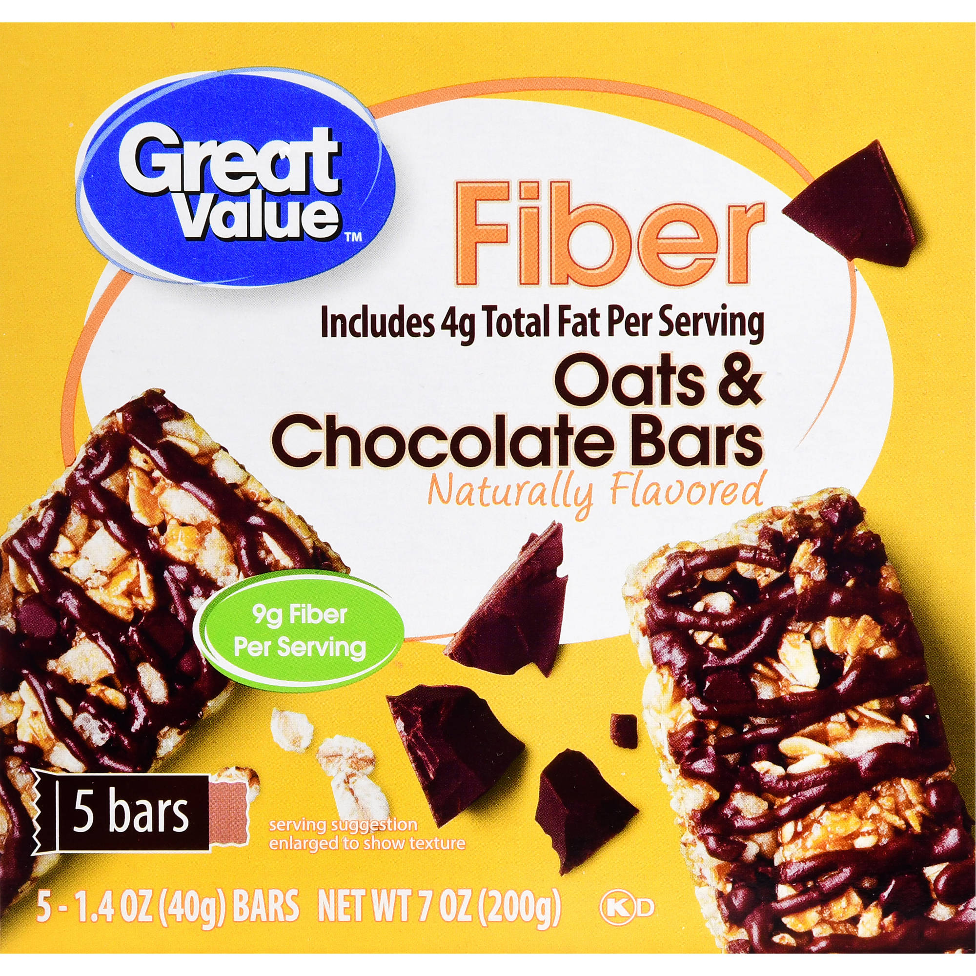 Great Value Fiber Bars Oats & Chocolate, 7 Oz