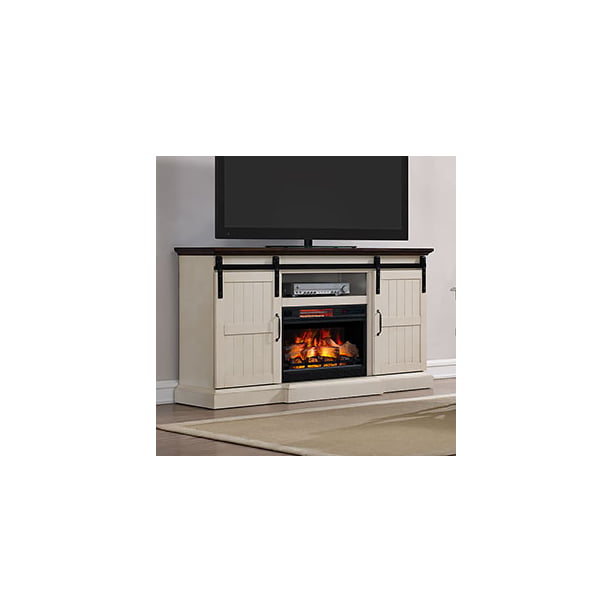 Hogan Electric Fireplace Tv Stand With Logset Weathered White Walmart Com Walmart Com