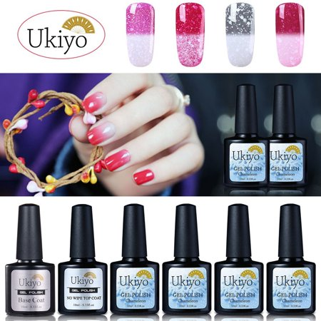 Ukiyo Snowy Thermal Color Changing Uv Gel Nail Polish With No Wipe Top Coat And