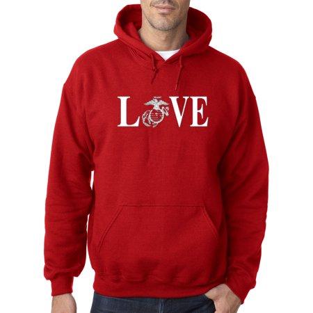 145 - Hoodie Love Marines Usmc Military Usa Sweatshirt ()