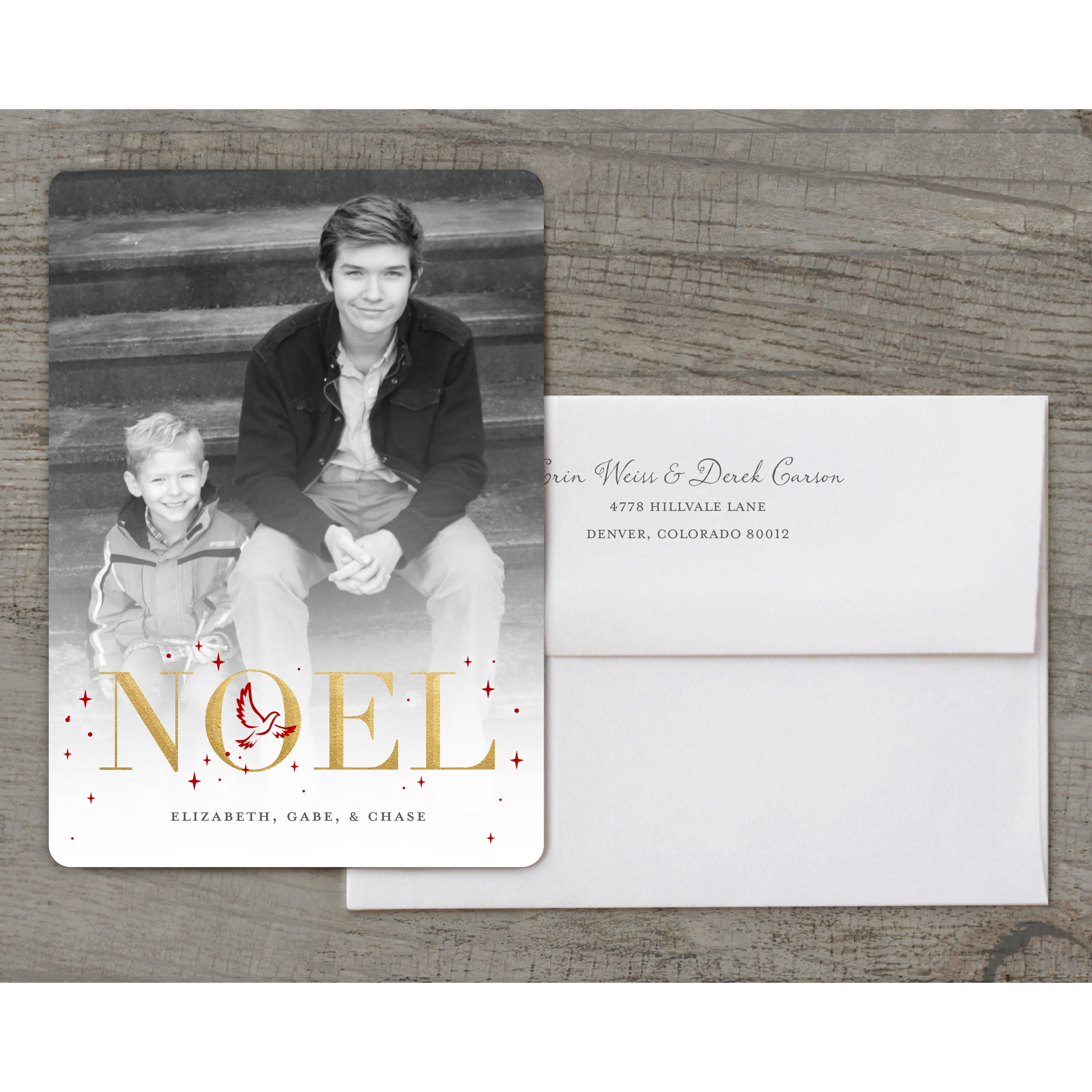 Noel - Deluxe 5x7 Personalized Holiday Religious Holiday Card