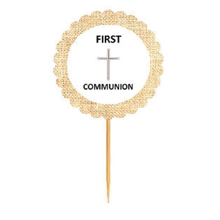 First Communion  Rustic Burlap Cupcake Decoration Topper Food Picks - First Communion Cupcakes