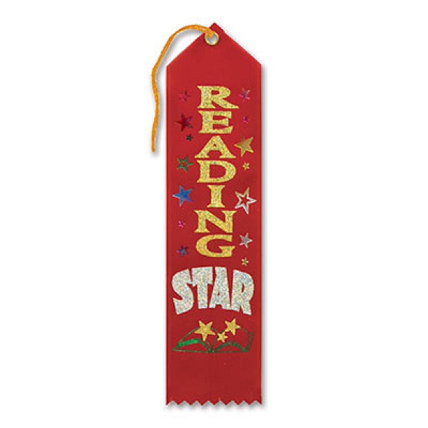 "Pack of 6 Red ""Reading Star Award"" School Award Ribbon Bookmarks 8"""