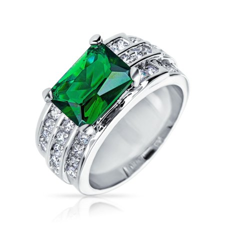 10Ct Green Rectangular Cubic Zirconia CZ Simulated Emerald Cut Fashion Statement Ring Wide Pave Band Silver Plate Brass