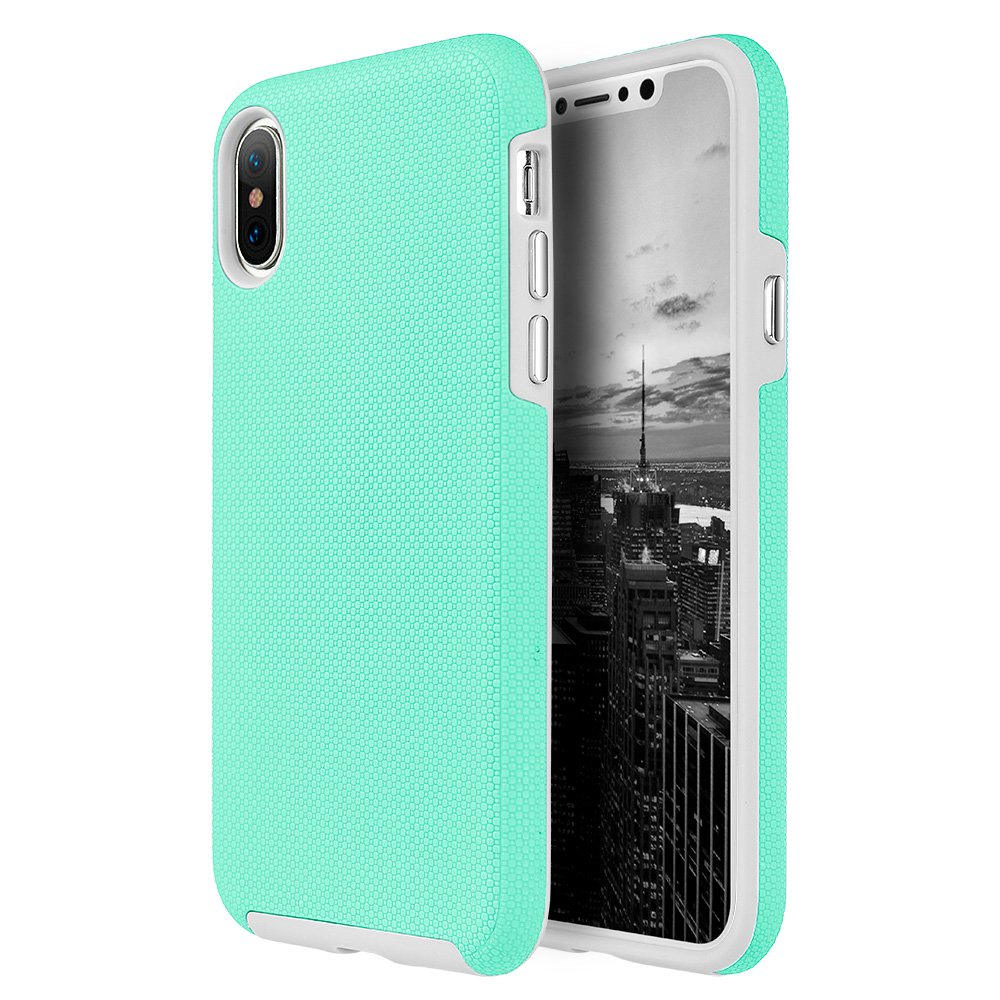 iPhone X Case,Premium Anti Slip Coating Hybrid Back Case Heavy Duty Defender Cover (Shockproof, Raised Bezel, Anti Scratch,Lightweighted) for iPhone X- Teal