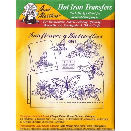 Hot Iron Transfers 3941 Sunflowers and Butterflies, Reminiscent of blue onion skin embroidery transfers. These transfer in black. By Aunt Martha's for $<!---->