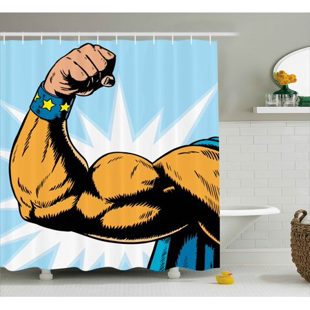 Comics Shower Curtain, Superhero Arm Flexing Muscles Powerful Fiction Character Cartoon Graphic Style, Fabric Bathroom Set with Hooks, Marigold Blue, by Ambesonne