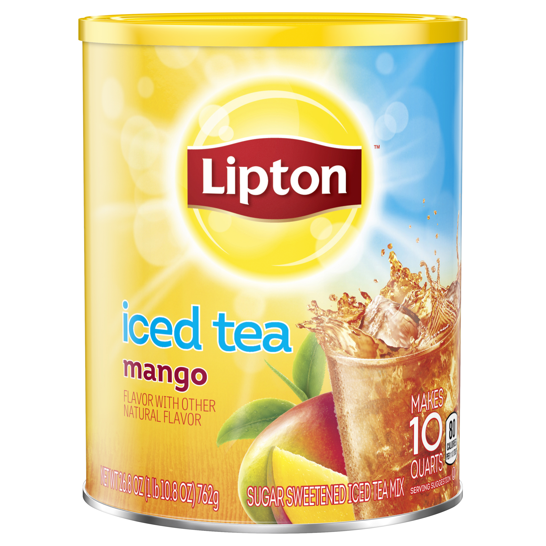 (6 Boxes) Lipton Mango Sweetened Iced Tea Mix, 10 qt