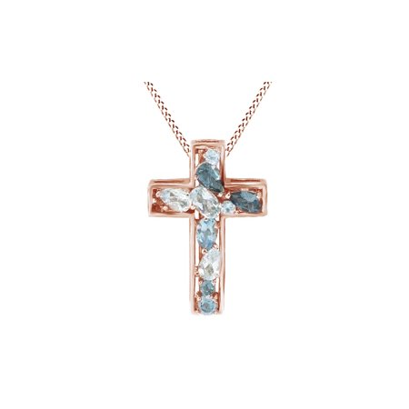 Simulated Blue Topaz Cross Pendant with Chain Necklace In 14K Rose Gold Over Sterling Silver Blue Topaz Garnet Cross