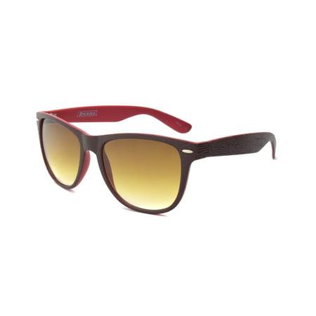 Brown Wayfarer Sunglasses with Red Interior