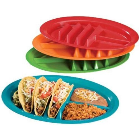 The Taco Plate - Multicolored Set of 4, Official Plate of Family Taco Night, Made in the USA By Jarratt Industries - Taco Holder Plate