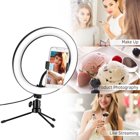 10inch LED Ring Light Photography Fill-in Lamp 3 Lighting Modes Dimmable USB Powered with Phone Holder Mini Desktop Tripod for Live Video Recording Network Broadcast Selfie Makeup - image 2 of 7