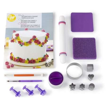Wilton How to Decorate with Fondant Shapes and Cut-Outs Kit - 14-Piece Cake Decorating Kit with Video Tutorial and Fondant Techniques