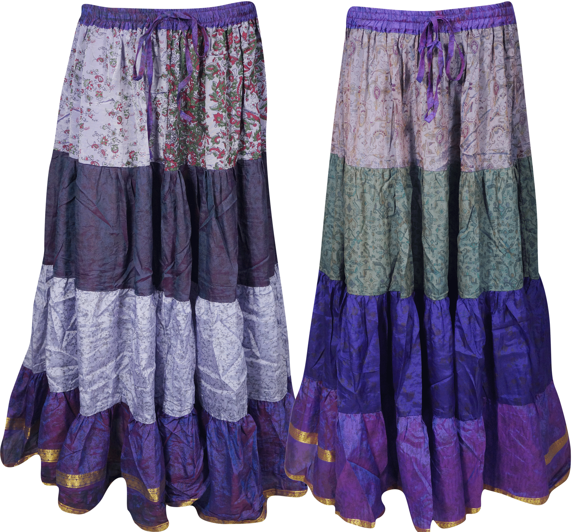 Mogul Bohemian Womens Long Skirts Vintage Silk Sari Flare Tiered Maxi Skirt Lot Of 2 Pcs