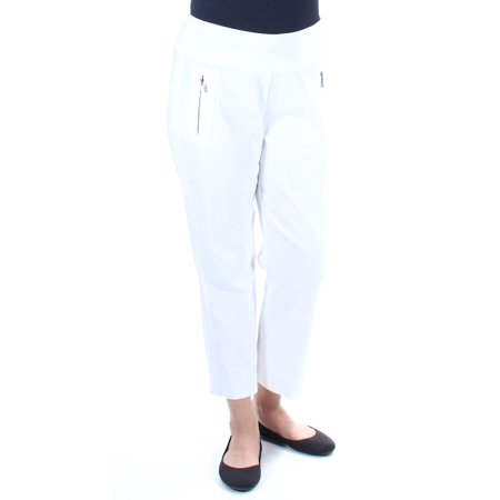 - INC Womens White Curvy Fit Cropped Pants  Size: 12