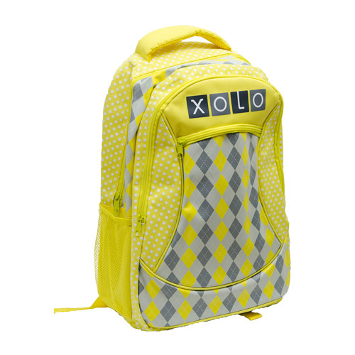 "XOLO Sunny Yellow Plaid Print 16"" Backpack"