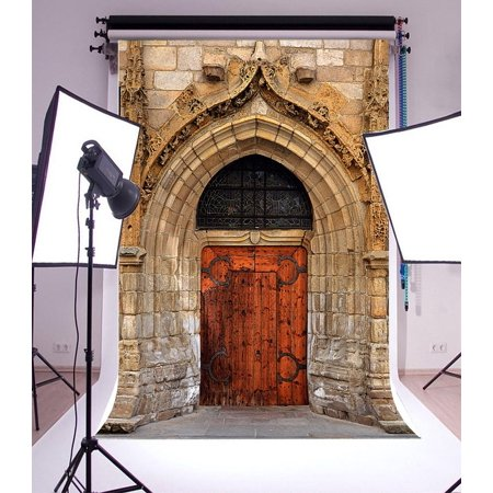 GreenDecor Polyster 5x7ft Backdrop Photography Background Ancient Old Arch Gate Retro Stone House European Style Wood Door Artistic Adults Portrait Film Shooting Backdrop Video Photo Props](Stone Backdrop)