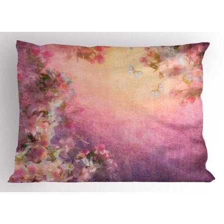 Art Pillow Sham Enchanted Cherry Blossom Petals Field Shabby Chic Floral Garden Spring Picture, Decorative Standard Size Printed Pillowcase, 26 X 20 Inches, Pale Pink Peach, by Ambesonne