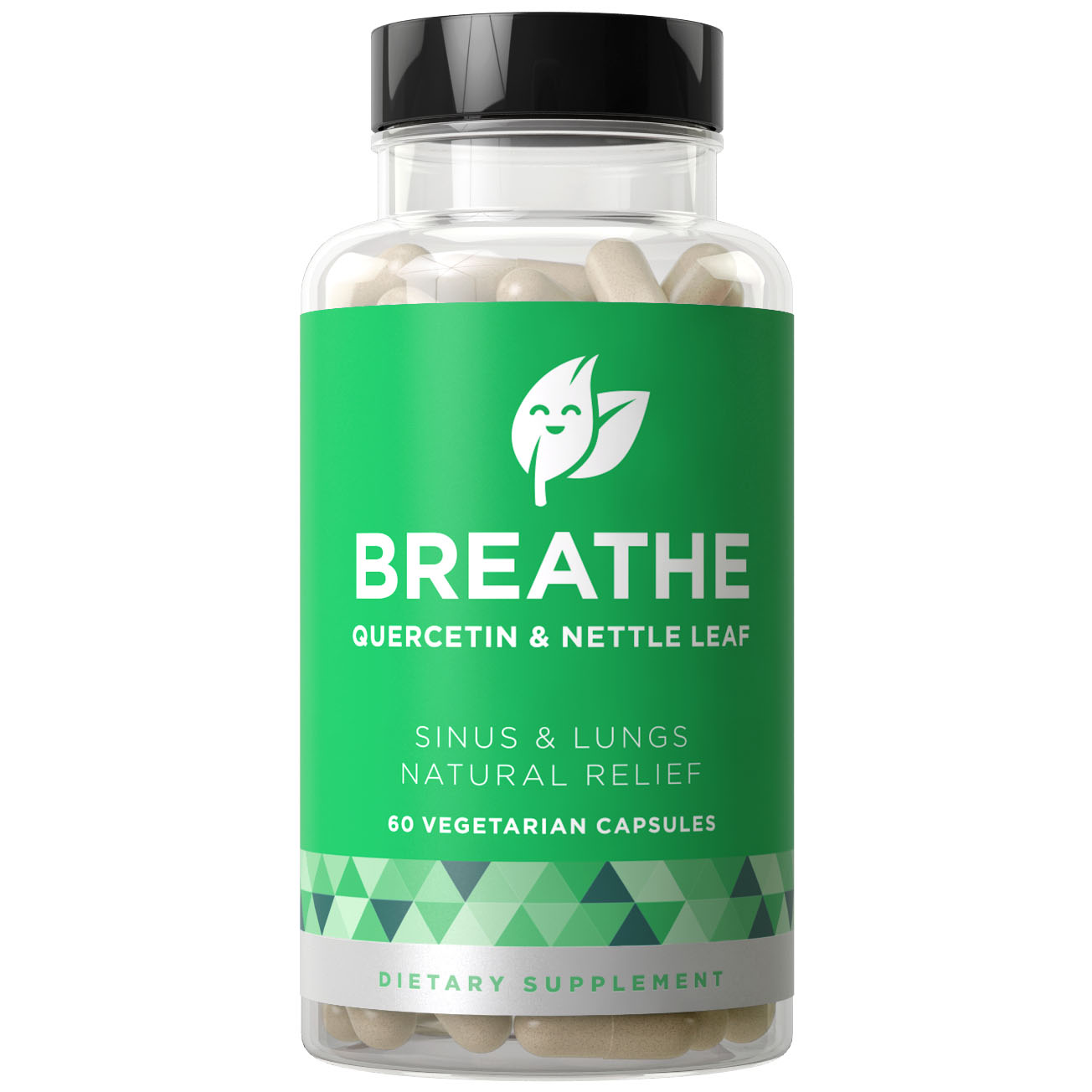 BREATHE Sinus & Lungs Breathing - Fact-Acting Strength, Seasonal Protection, Nasal Congestion, Bronchial Wellness - Non-Drowsy Formula with Quercetin & Nettle Leaf - 60 Vegetarian Soft Capsules