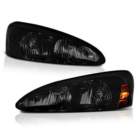 VIPMOTOZ OE-Style Smoke Lens Headlight Headlamp Assembly For 2004-2008 Pontiac Grand Prix, Driver & Passenger