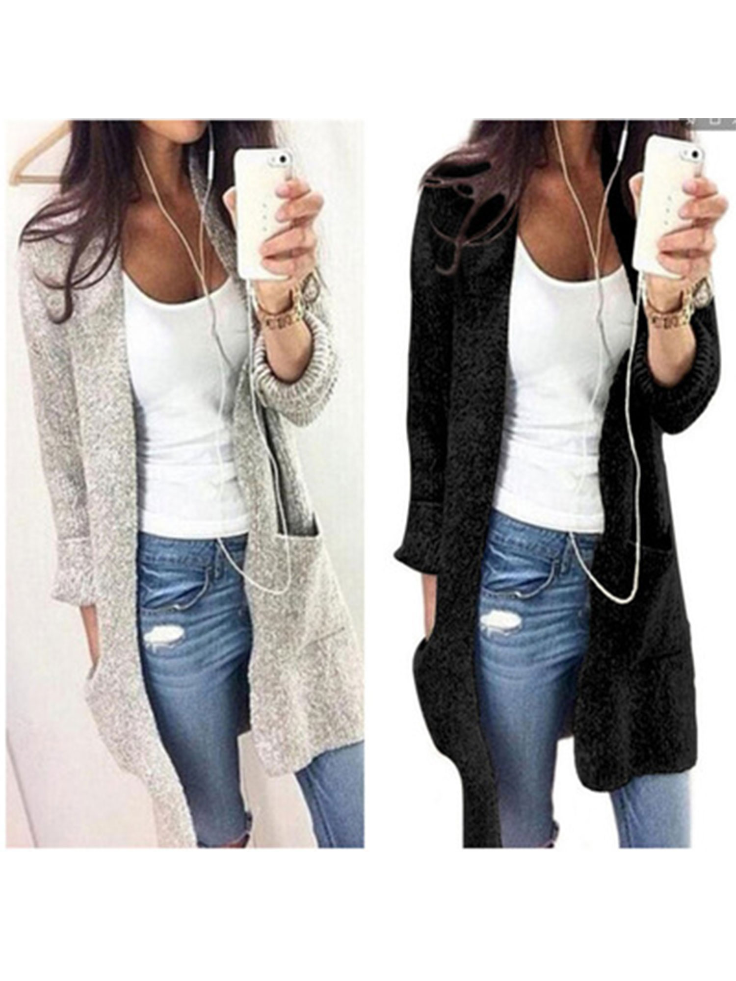 Black Friday Clearance! Long Sleeve Cardigan Sweaters for Women, Womens Drape Coats for Juniors, Black / Gray Casual Open Front Knitted Cardigan Gift for Ladies, S-XL