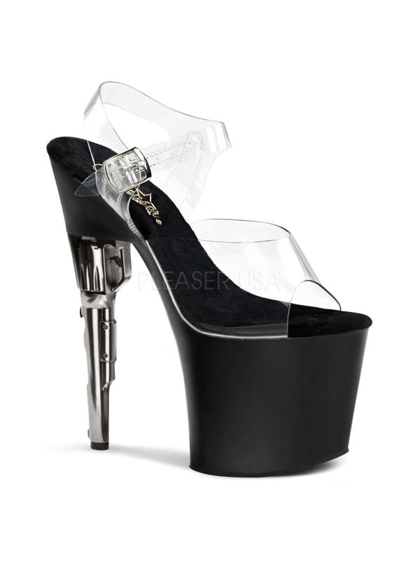 "BOND708/C/B Pleaser Platforms Exotic Dancing 7""-7 1/2"" Heel Shoes CLEAR Size:11"