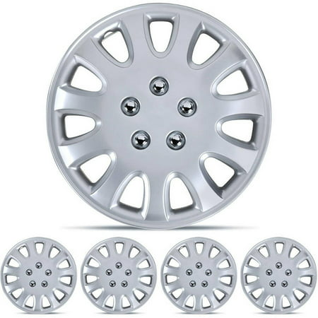 "BDK Hubcaps 14"" Wheel Protection, OEM Replacement, Easy Installation, Total 4 Pieces (2 front 2 rear)"