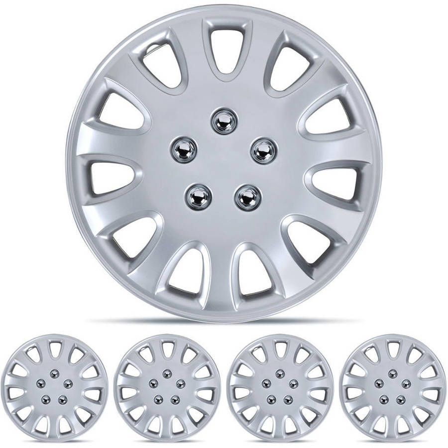 """BDK Hubcaps 14"""" Wheel Protection, OEM Replacement, Easy Installation, Total 4 Pieces (2 front 2 rear)"""